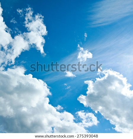 Beautiful white clouds in the clear blue sky, the purity of nature - stock photo