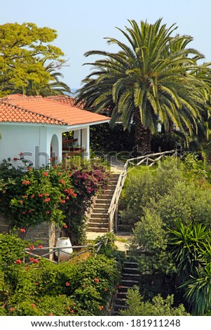 Beautiful white house with red tile roof, small terrace and steps in the mediterranean garden(Greece). Vertical image  - stock photo