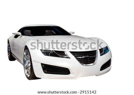 Beautiful white luxury sports car isolated on a white background. Look in my gallery for more car photos like this.