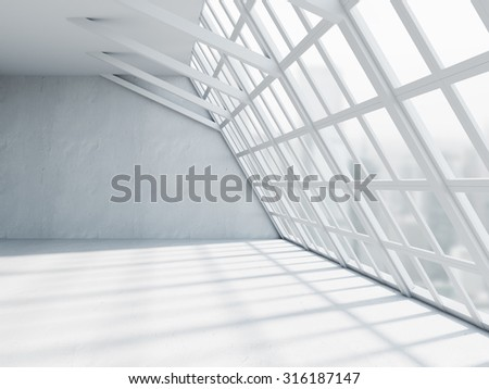 Beautiful white office interior with windows and concrete floors. 3d render