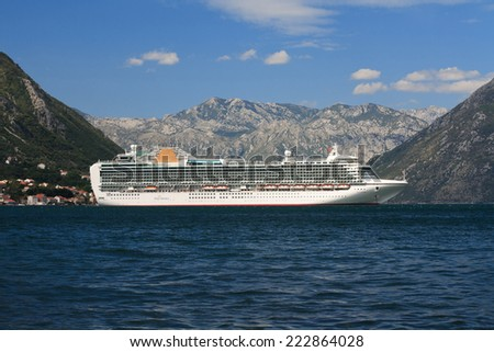 "Beautiful white passenger ship ""Ventura"" in the Strait of Verige, in the Bay of Kotor. September 26th, 2014 Montenegro"