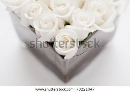 Beautiful white roses for wedding - stock photo