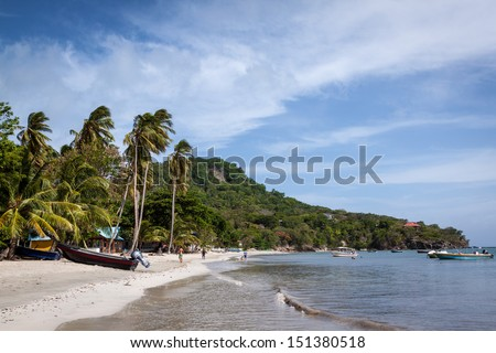 Beautiful white sand at Providencia - stock photo
