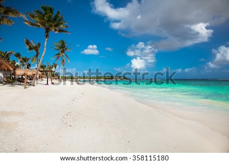 Beautiful white sand beach in Akumal, Mexico. Latin America. - stock photo