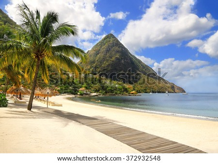 Beautiful white sand beach in Saint Lucia, Caribbean Islands - stock photo