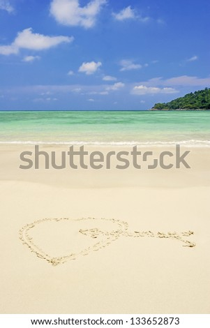 Beautiful white sand tropical beach at day time.