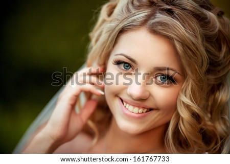 beautiful, white smile at pretty bride