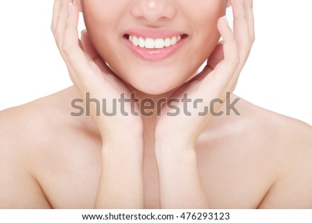 Beautiful white smiling of young lovely woman