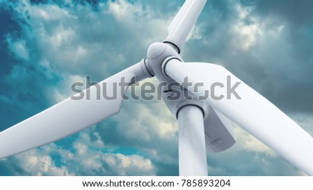 Beautiful white windmill on blue sky background. 3d rendering