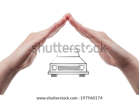 Beautiful white woman hands protecting a vehicle. Car insurance concept isolated on white background. - stock photo