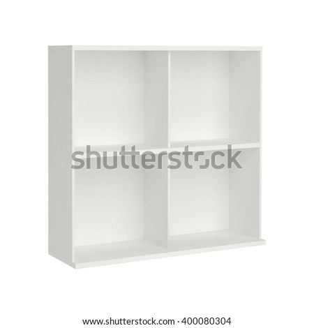 beautiful white wooden modern cupboard isolated - stock photo