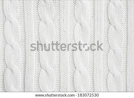 Beautiful white wool  hand knit  patterns - stock photo