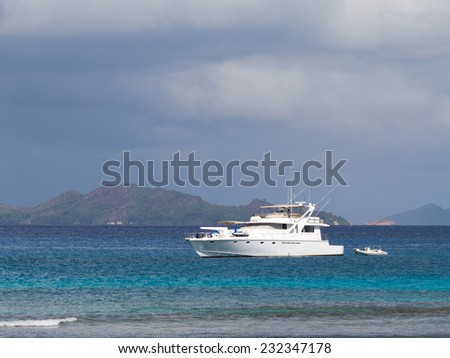 beautiful white yacht off the coast of the Seychelles