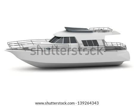 Beautiful white yacht on a white background