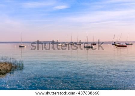 Beautiful white yachts at sea port. Italy - stock photo