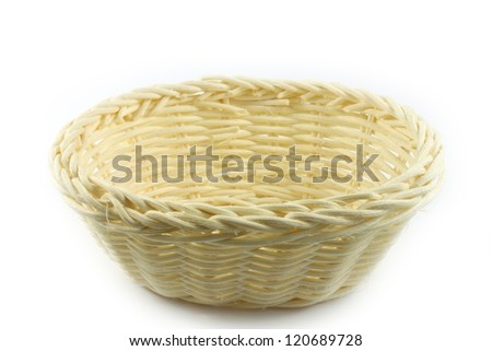 beautiful wicker basket isolated on white background