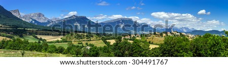 Beautiful wide angle panoramic view, original nature, Alps, France.
