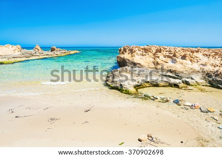 Beautiful wild beach with clear turquoise water and white sand. Crete island, Greece.  - stock photo