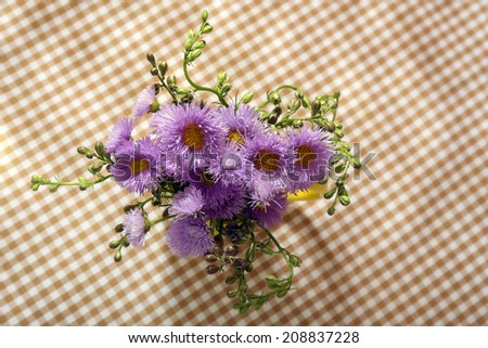 Beautiful wild flowers on table - stock photo