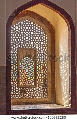 beautiful windows with ornaments in islamic style inside humayuns tomb