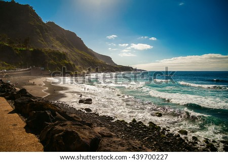 beautiful windy beach Playa El Socorro, Los Realejos, Puerto de la Cruz, Tenerife, Spain