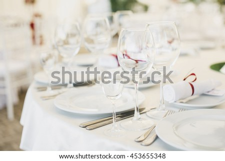 Beautiful wine and champagne glasses in the restaurant. - stock photo