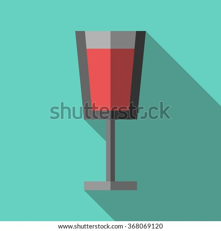 Beautiful wineglass full of red beverage on turquoise blue background with long shadow. Flat style - stock photo