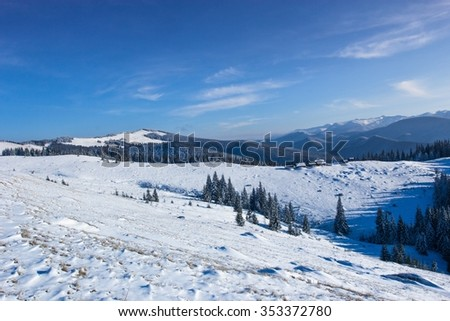 beautiful winter Carpathian landscape, Ukraine, Europe