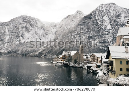 Beautiful winter day at Hallstatt, Austria. Sunny weather at wintertime.
