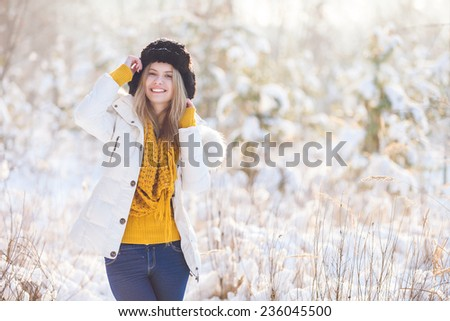 Beautiful winter girl - stock photo
