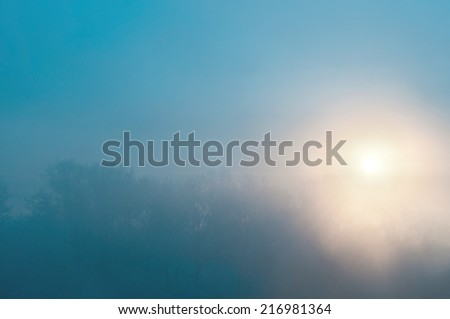 Beautiful winter landscape at sunset with fog