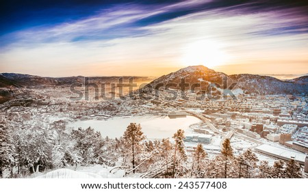 beautiful winter landscape from a mountain top - stock photo
