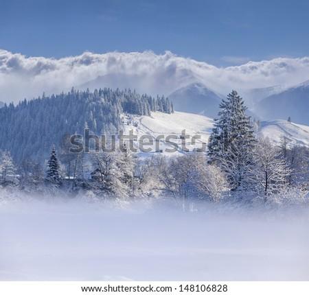Beautiful winter landscape in mountain village - stock photo