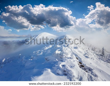 Beautiful winter landscape in the foggy mountains - stock photo