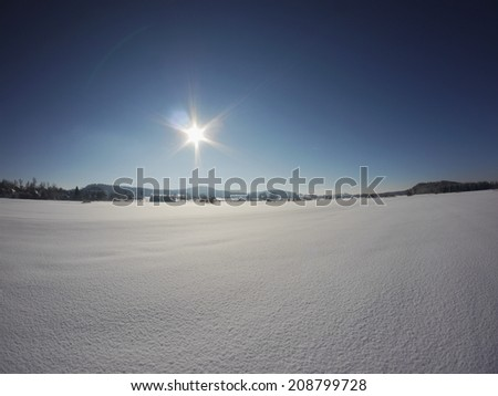 Beautiful winter landscape in the winter outside - stock photo