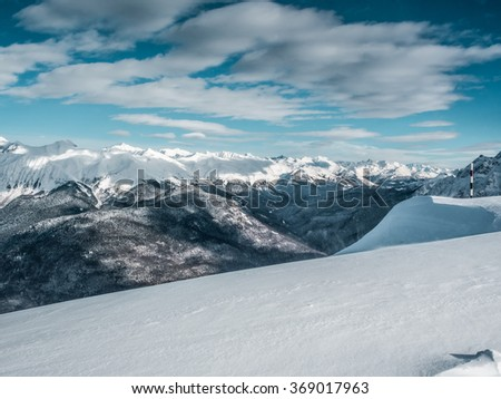 Beautiful winter landscape of Mountains
