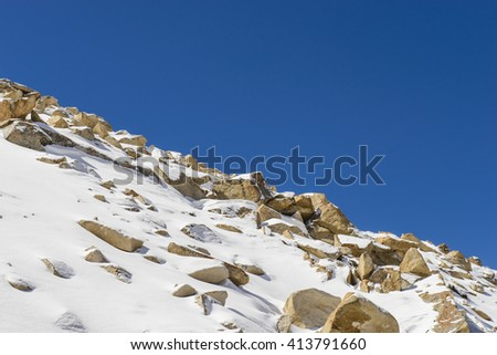 Beautiful winter landscape snow on the top of mountains - stock photo