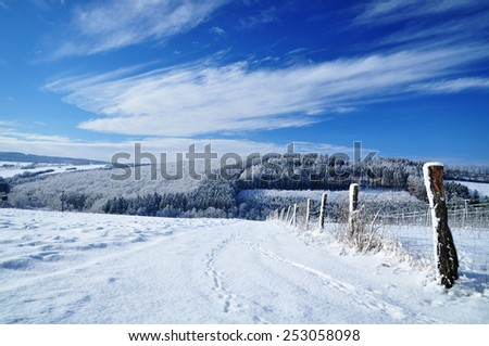 Beautiful winter landscape, sunny sky. - stock photo