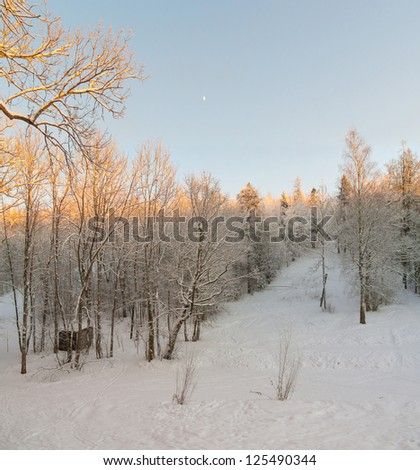 Beautiful winter landscape. View from the hill on the village, the snow-covered wood and the lake - stock photo