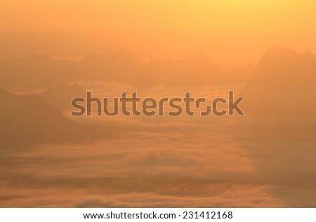 Beautiful winter landscape with sunrise - stock photo