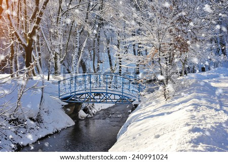 Beautiful winter landscape with the river - stock photo