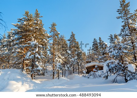 Beautiful winter landscape with wooden hut and snow covered trees