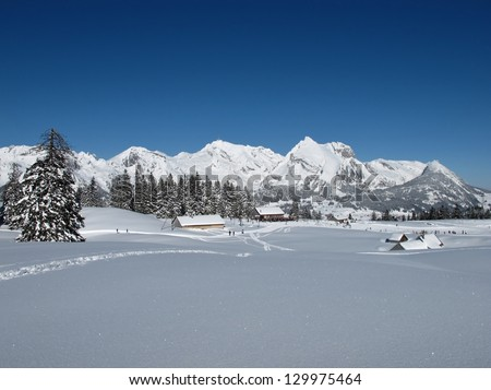 Beautiful winter lanscape in the Toggenburg, Mt  Saentis - stock photo