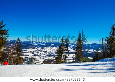 beautiful winter mountains, skiing resort