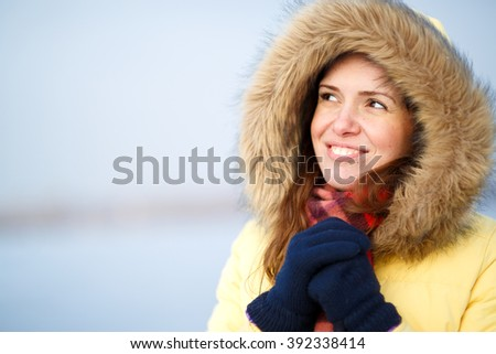 Beautiful winter portrait of young woman