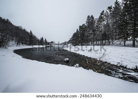 Beautiful winter scenery by the lake and the River. Heavy snow and blizzard is giving the scenery a unique appearance and look. - stock photo
