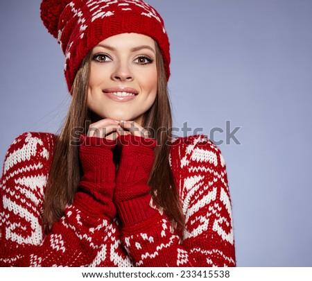 Beautiful winter slavic girl - stock photo