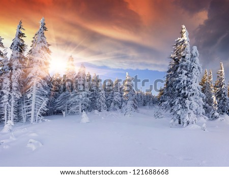 Beautiful winter sunrise in the mountains. Dramatic red  sky - stock photo