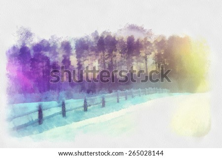 Beautiful winter sunrise on the road along the village, watercolor illustration - stock photo