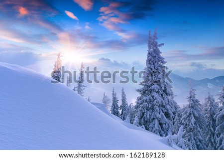 Beautiful winter sunset in the mountains. Sunrise